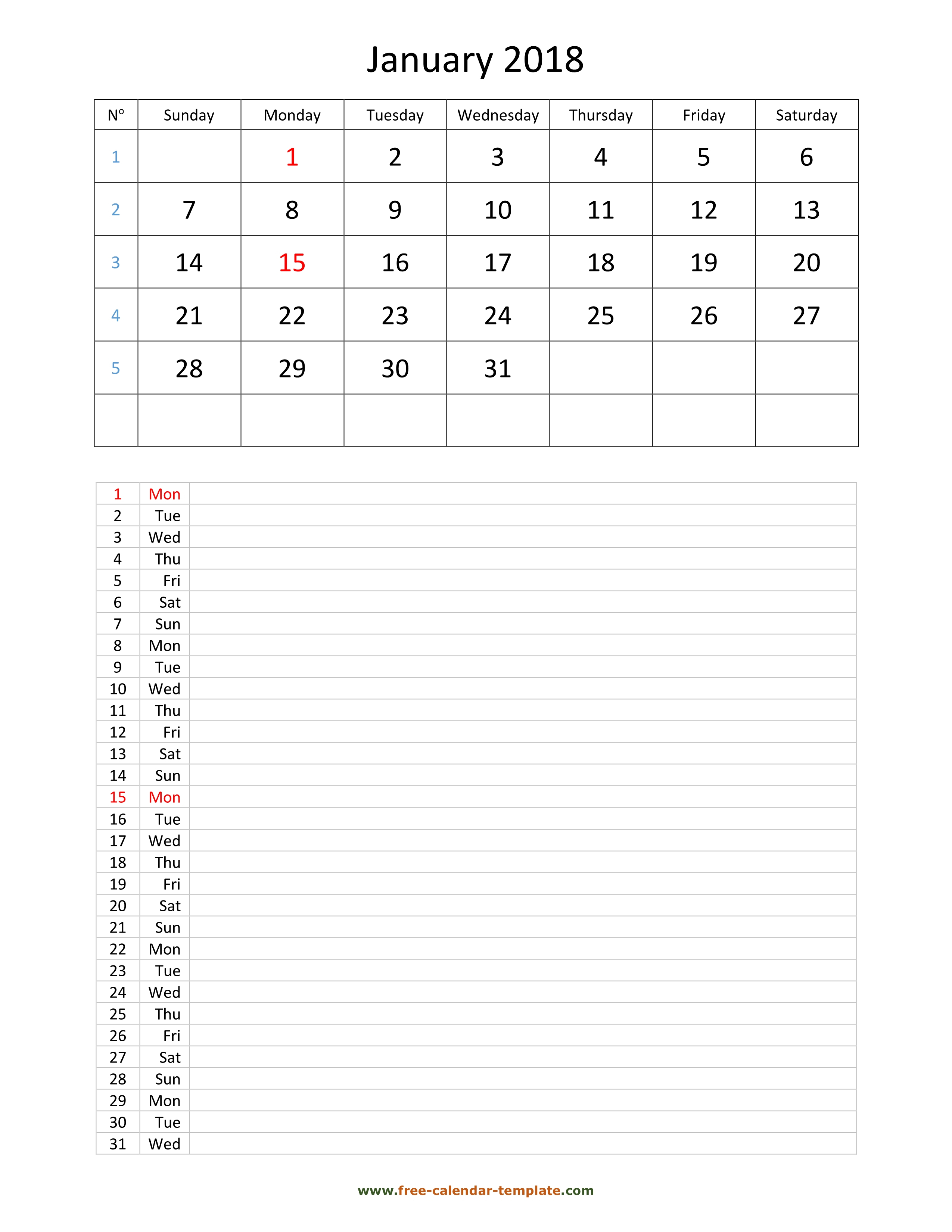 Printable 2018 Monthly Calendar Grid Lines For Daily Notes (Vertical for Printable Blank Monthly Calendar With Lines