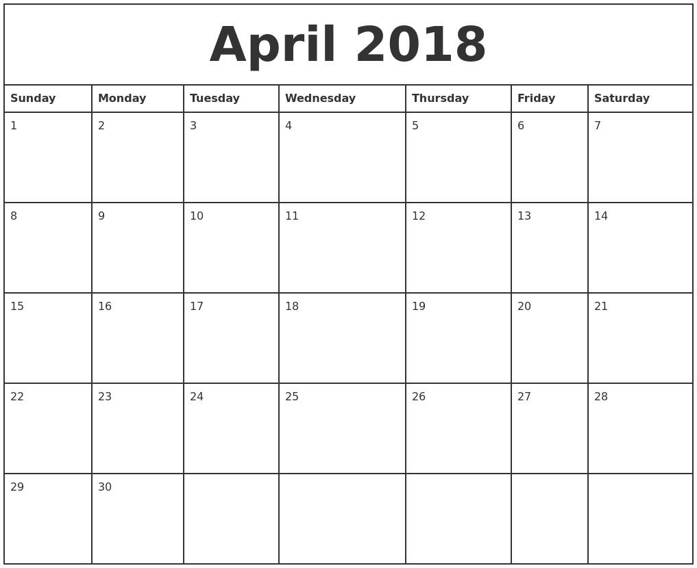 Printable 2018 Monthly Calendar Printable Calendar Templates 2018 with regard to Printable Editable Monthly Calendar Template