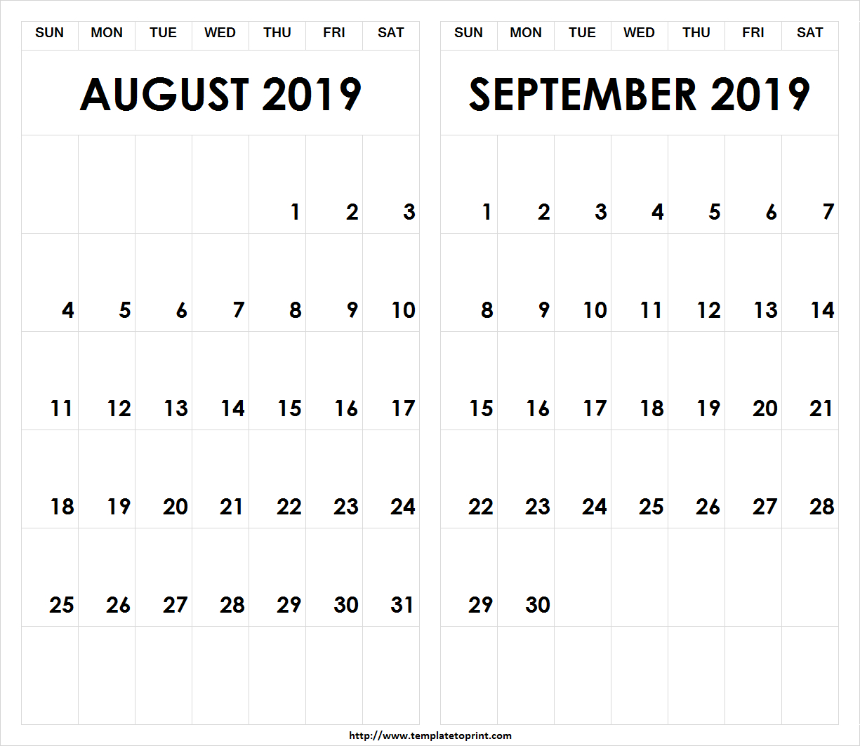 Printable-2019-August-September-Calendar » Template To Print intended for Blank August And September Calendar