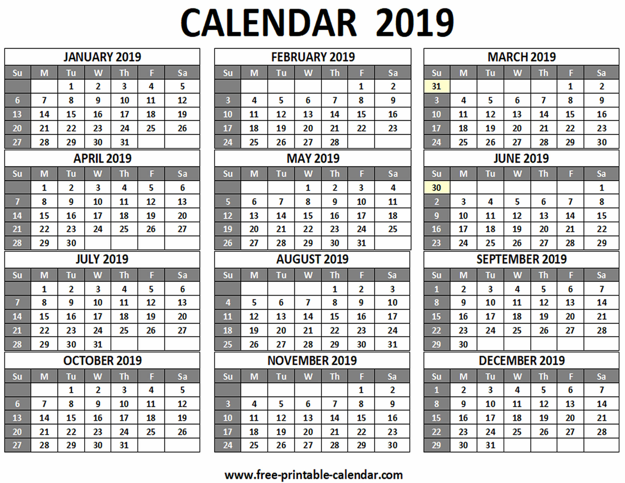 Printable 2019 Calendar - Free-Printable-Calendar within Template For Calendar With 12 Months On One Page