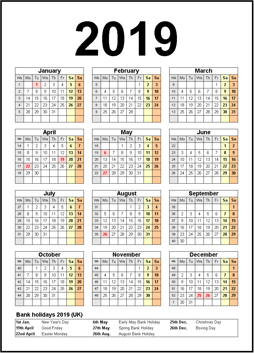 Printable 2019 Calendar United State | Us Federal Holidays | 2019 inside Holiday Chart Templates Uk