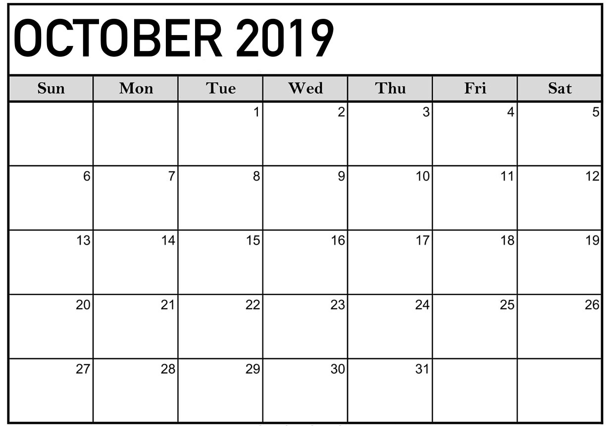 Printable 2019 October Calendar Blank - Free August 2019 Calendar regarding Calendar 2019 October To December