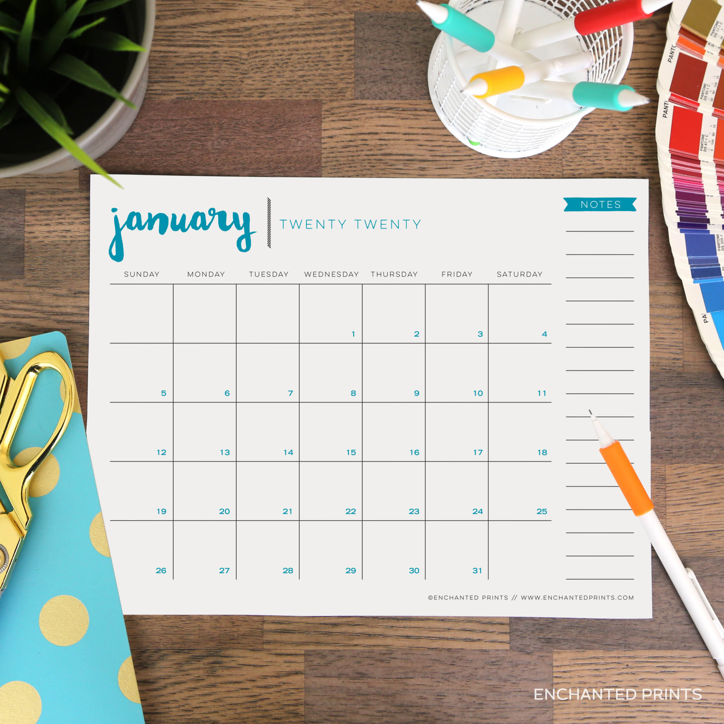 Printable 2020 Calendar - 12 Month Calendar - 2020 Planner - 8.5 X 11  Calendar - Instant Download with regard to Printable 8.5 X 11 2020 Calendar