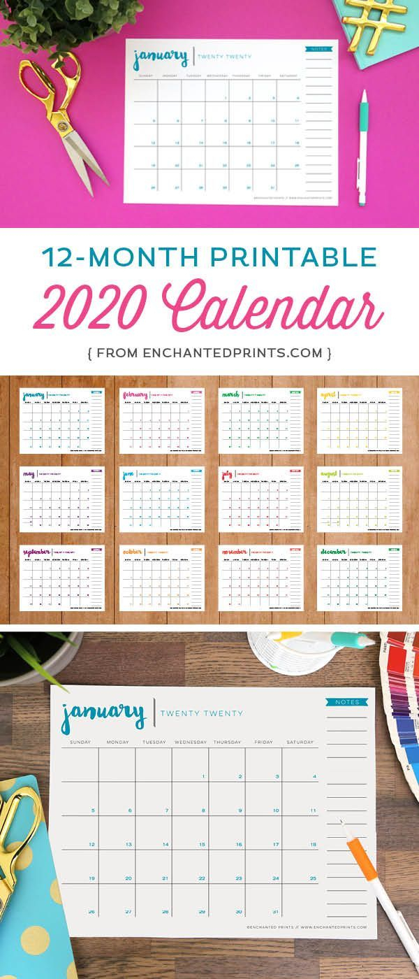 Printable 2020 Calendar - 12 Month Calendar - 2020 Planner - 8.5 X within 8.5 X 11 Calander Filler For 2020