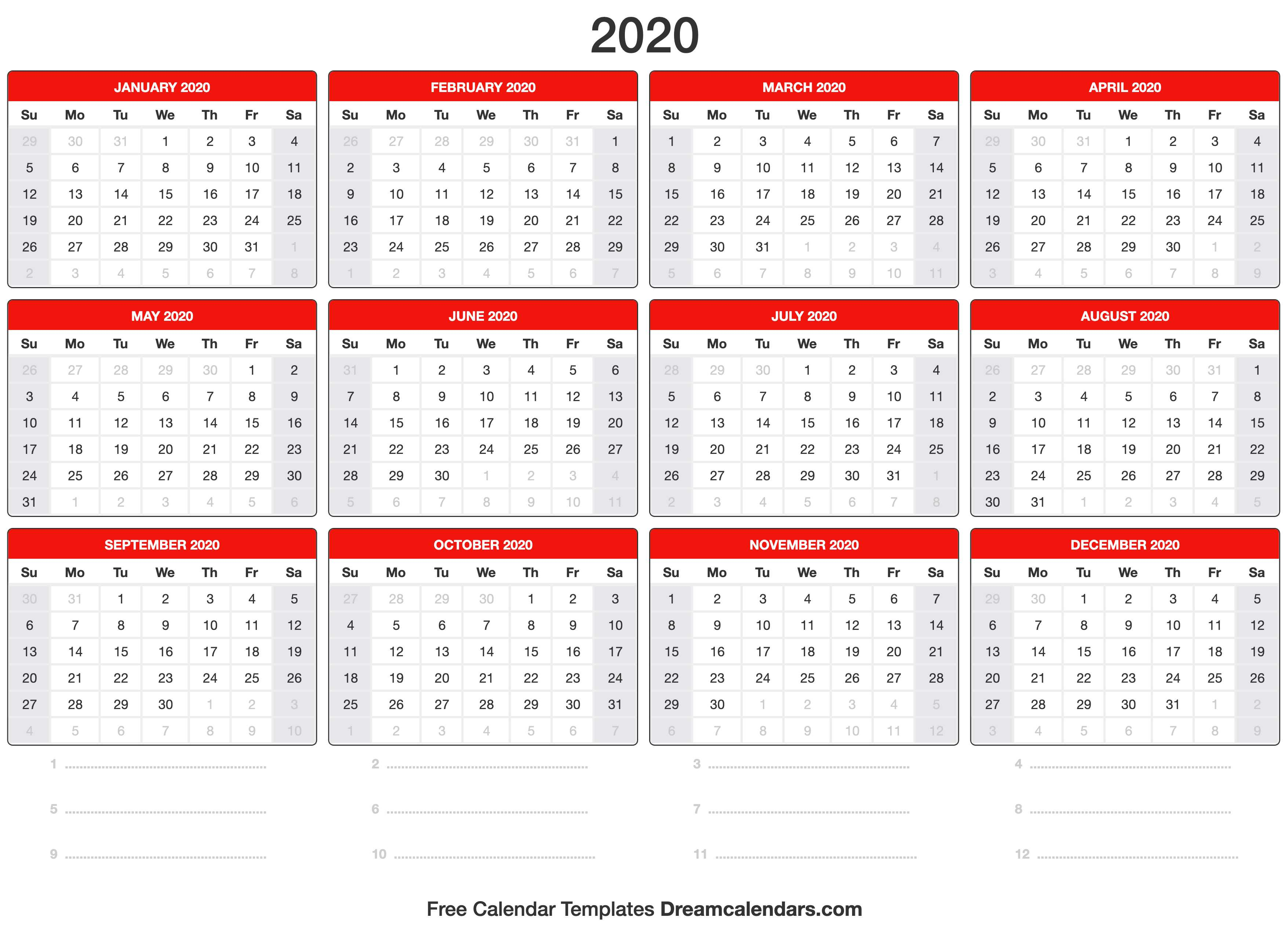 Printable 2020 Calendar - Dream Calendars for Free Calendar 2020 Printable Without Download