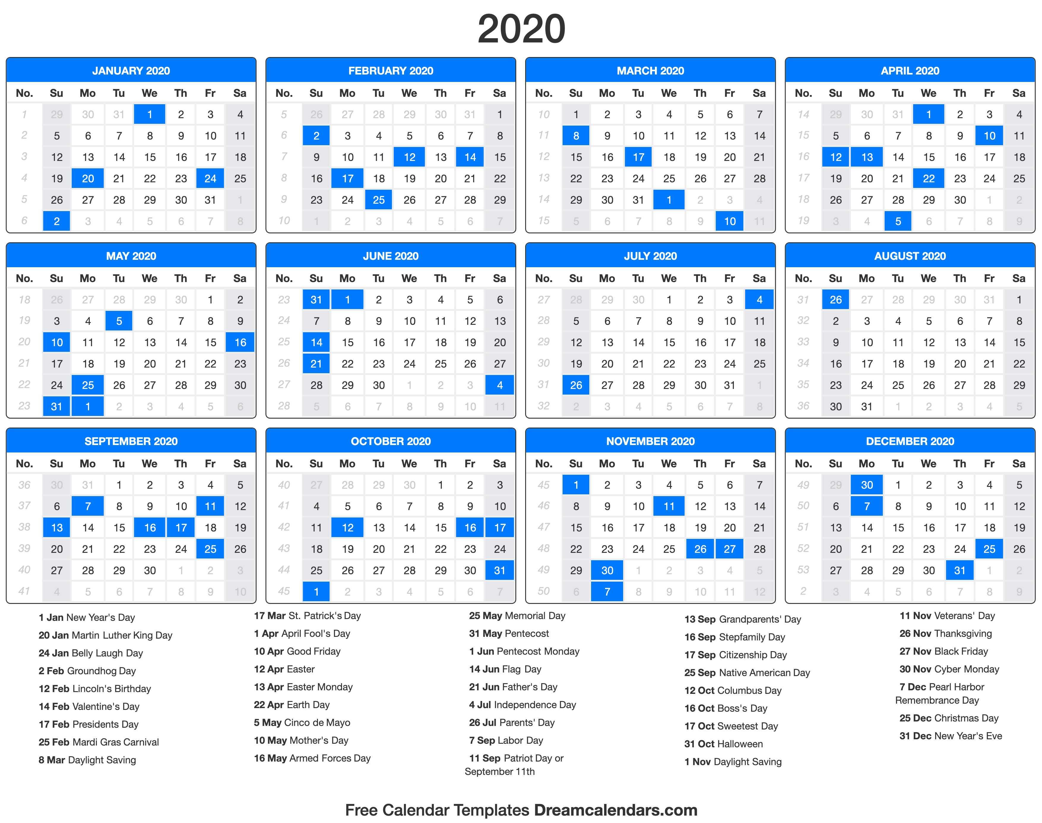 Printable 2020 Calendar - Dream Calendars throughout Printable 2020 Calendar Monday To Friday