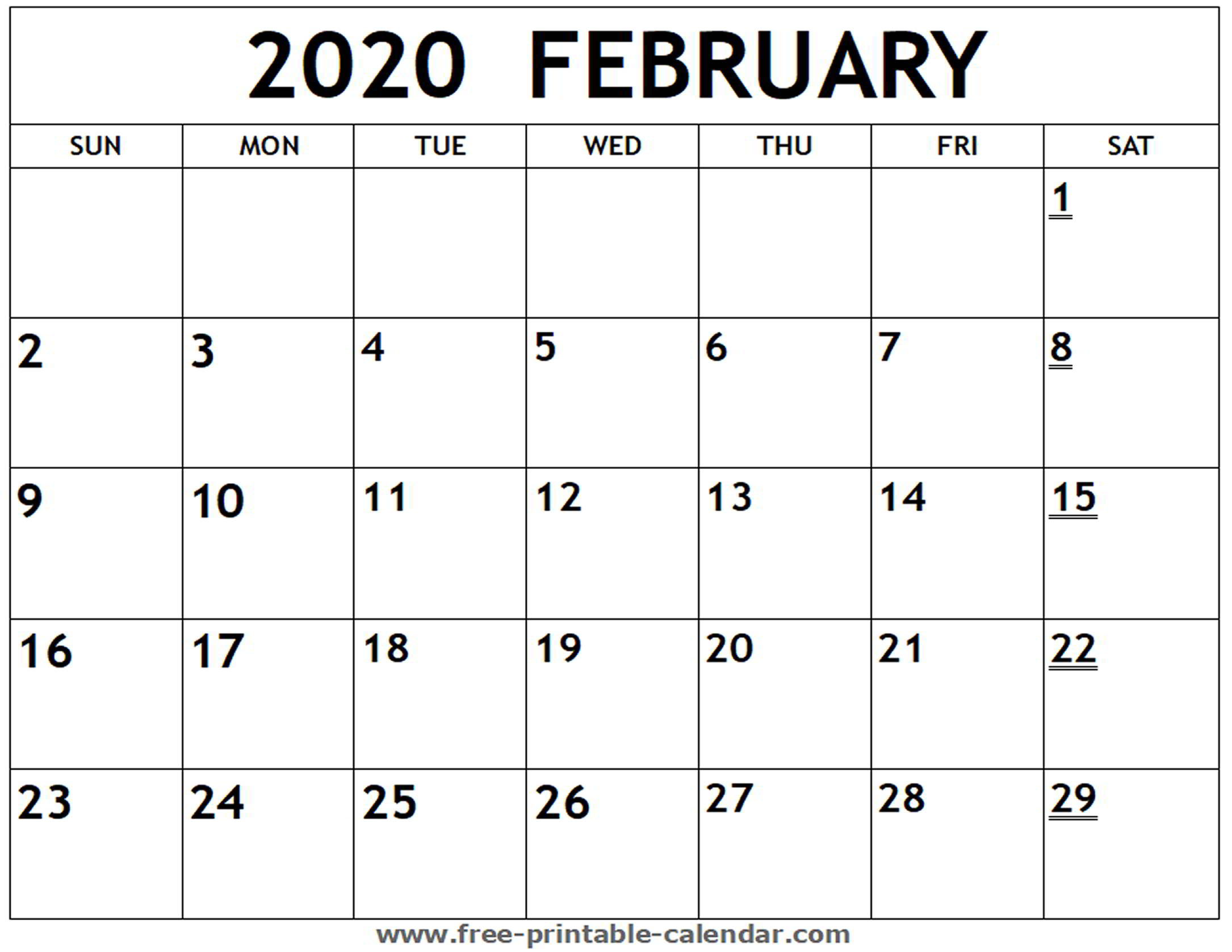 Printable 2020 February Calendar - Free-Printable-Calendar intended for Printable 2020 Calendar I Can Edit