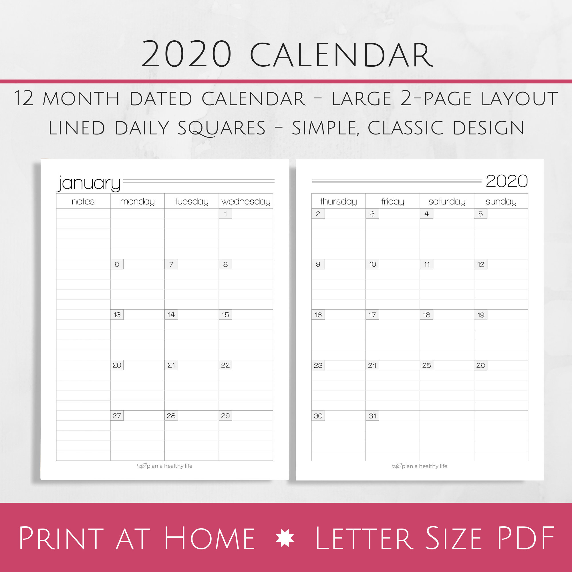 Printable 2020 Monthly Calendar - 8.5X11 Letter Size Pdf - 2020 Planner  Insert - Instant Download - Planner Calendar pertaining to 2020 Free Printable 8.5 X11 Monthly Calendars