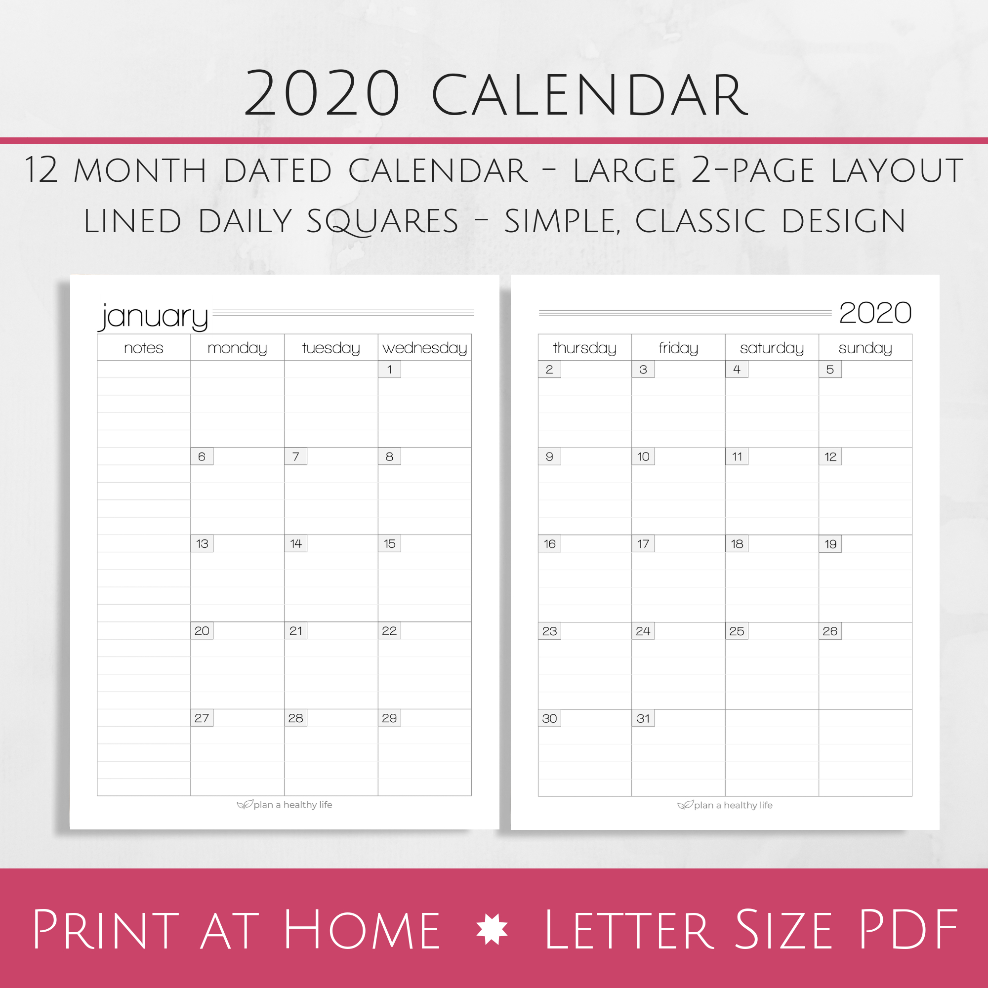 Printable 2020 Monthly Calendar - Large 2-Page Layout — Plan A Healthy Life inside 2020 Printable Calendar With Large Squares