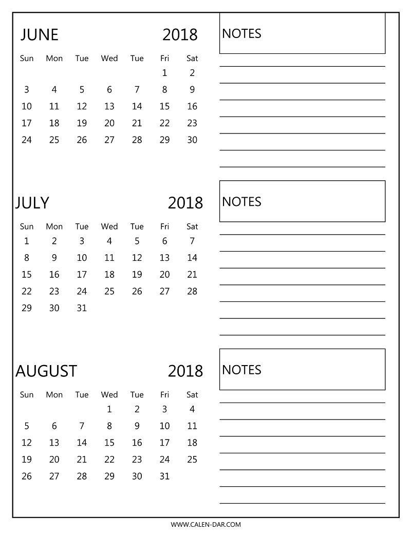 Printable 3 Month Calendar 2018 June July August | Printable inside 3 Month Calendar Templates May June July