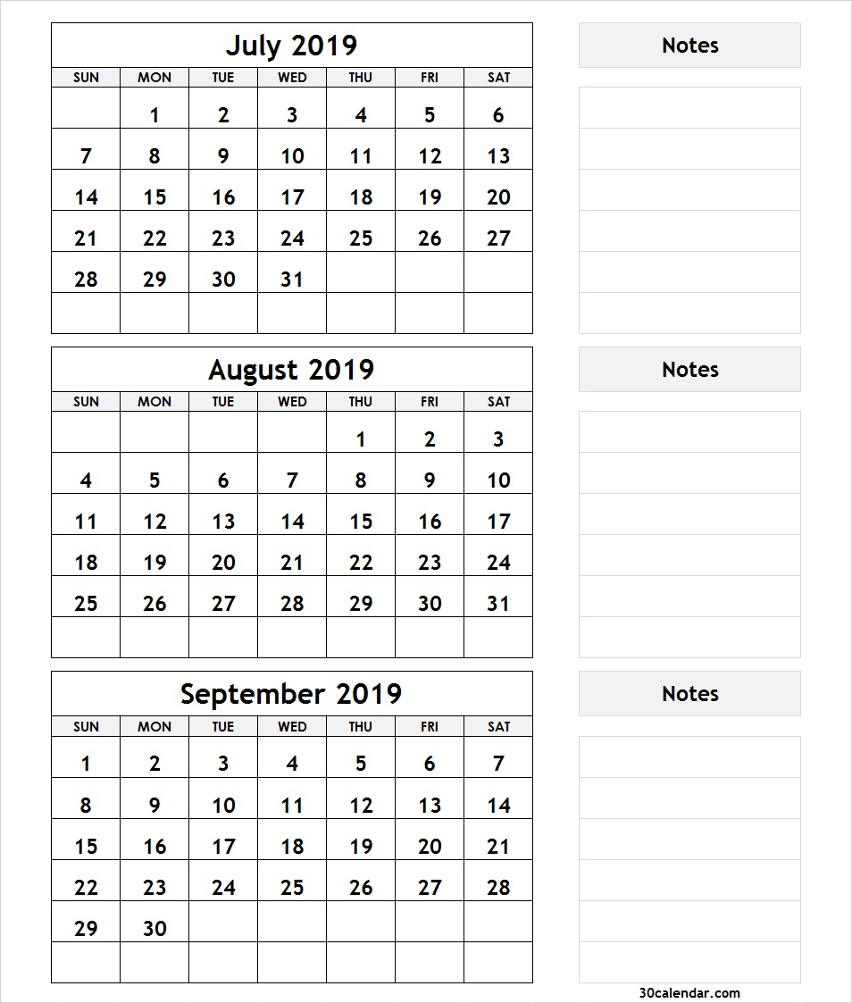 Printable 3 Month Calendar July August September 2018 | Printable in Printable July Augsut September Calendar Template