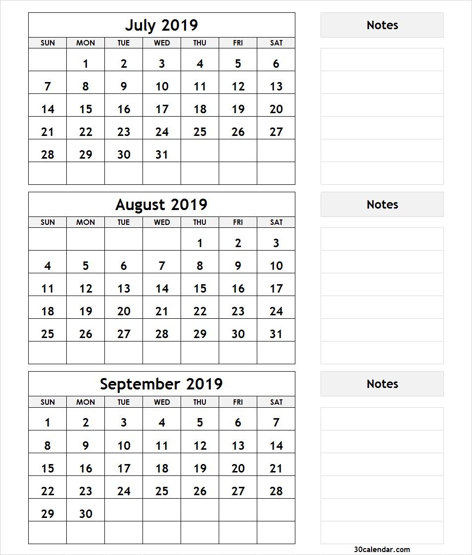 Printable 3 Month Calendar July August September 2018 | Printable with 3 Month Calendar Template Printable