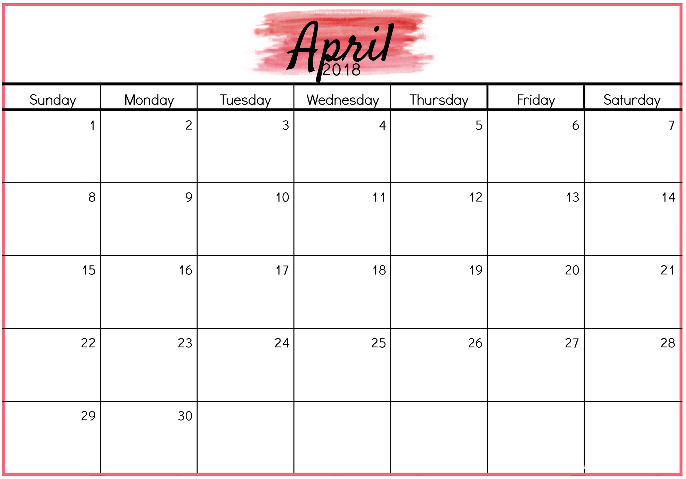 Printable April 2018 Calendar - Printable Monthly Calendar in April Calendar Template