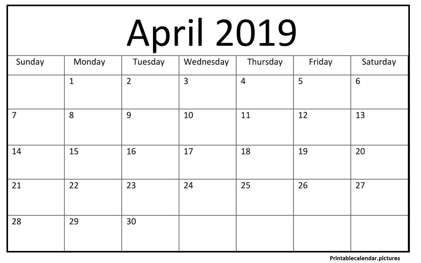 Printable April 2019 Blank Calendar #april #2019Calendar with regard to April Calendar Template