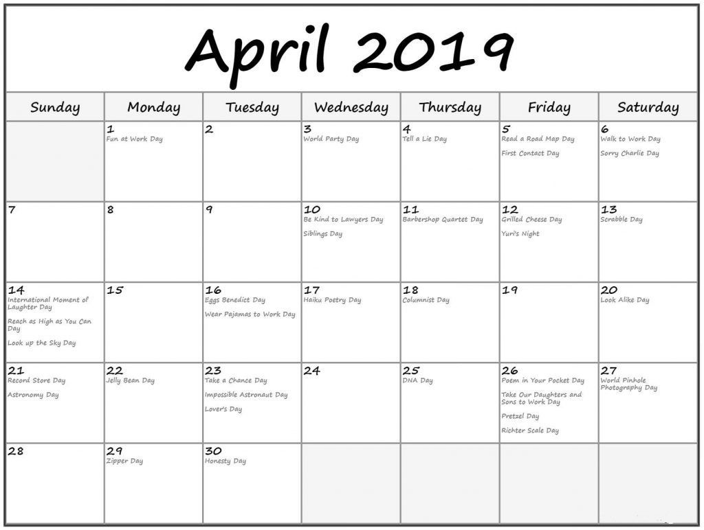 Printable April 2019 Calendar With Holidays | April Calendar 2019 with regard to Print Blank Workday Calendar For August