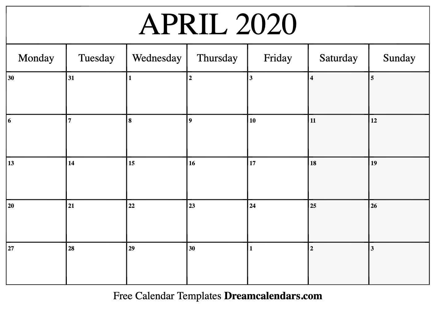 Printable April 2020 Calendar with 2020 Printable Calendar Free That Start With Monday