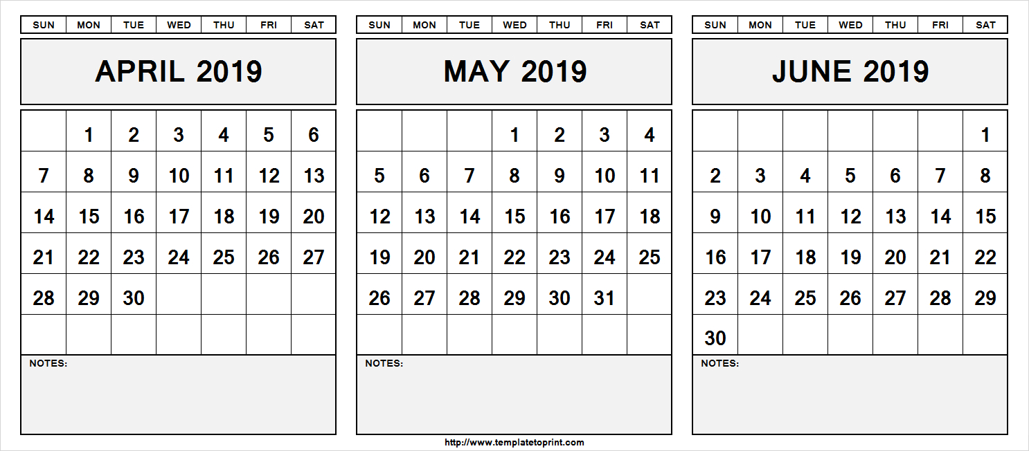 Printable April May June 2019 Calendar With Notes #april #may #june throughout Printable 3 Month One Page April May June Calendar Template
