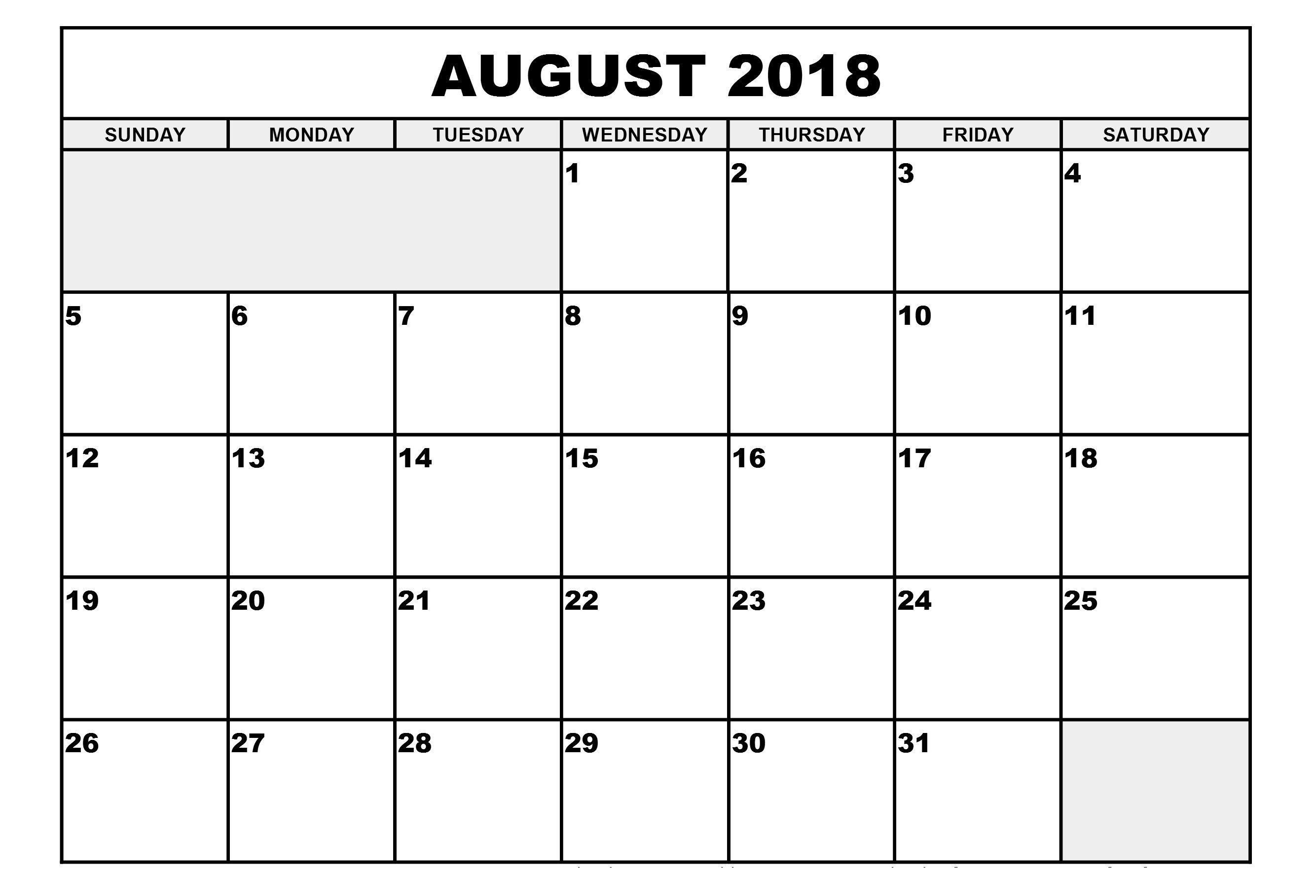 Printable August 2018 Blank Calendar Template Pdf pertaining to Printable Blank Calendar August
