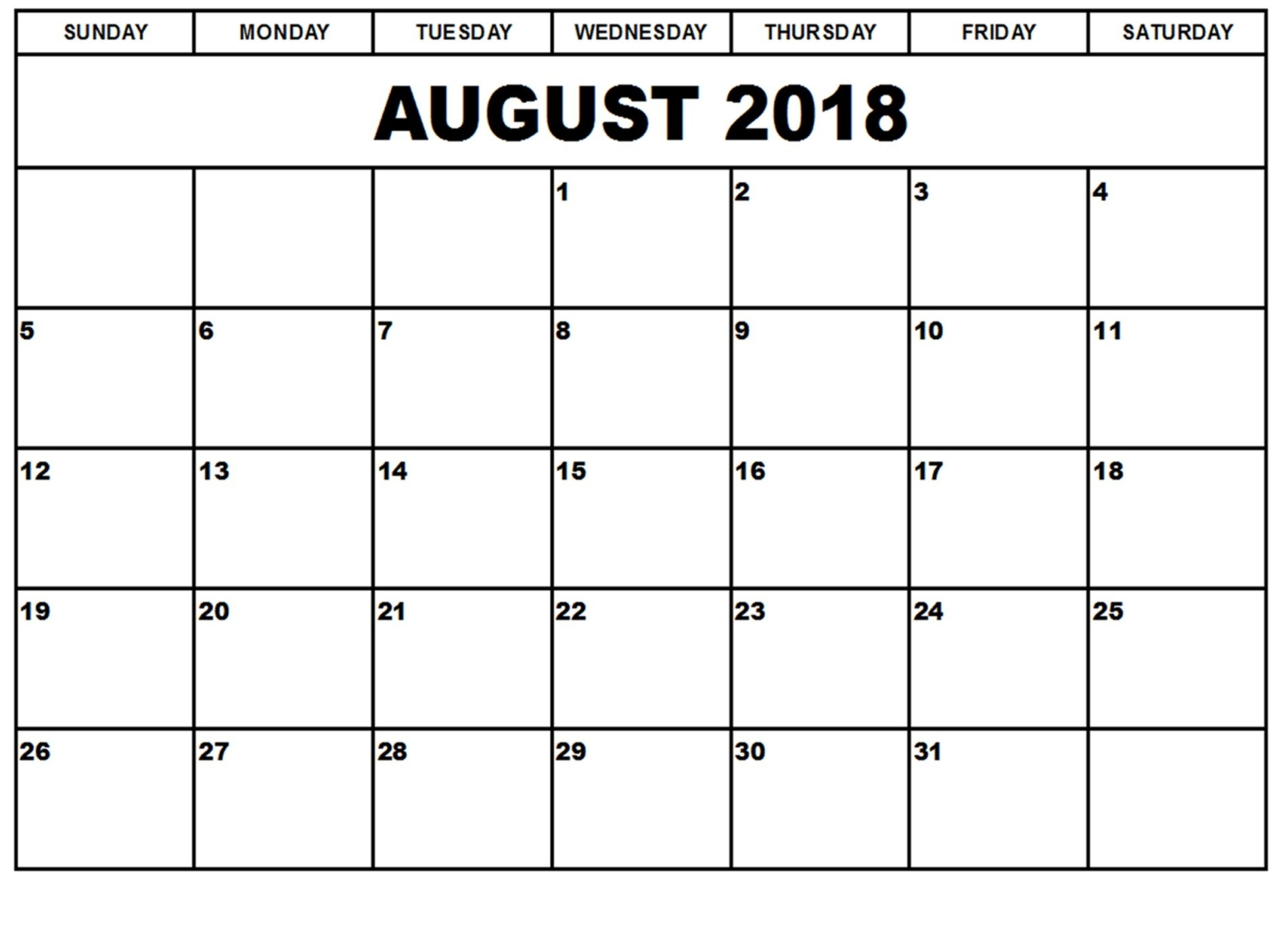 Printable August 2018 Blank Calendarday with Fancy August Printable Calendar Template