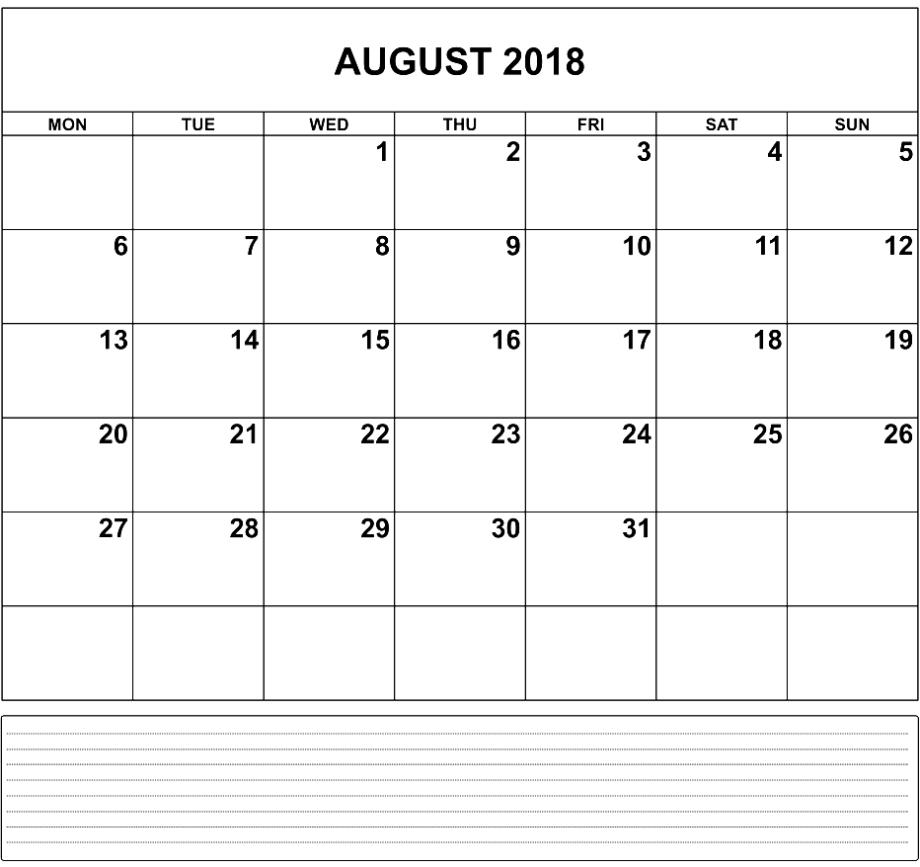Printable August 2018 Calendar Excel Template Pdf for August Calendar Template With Notes