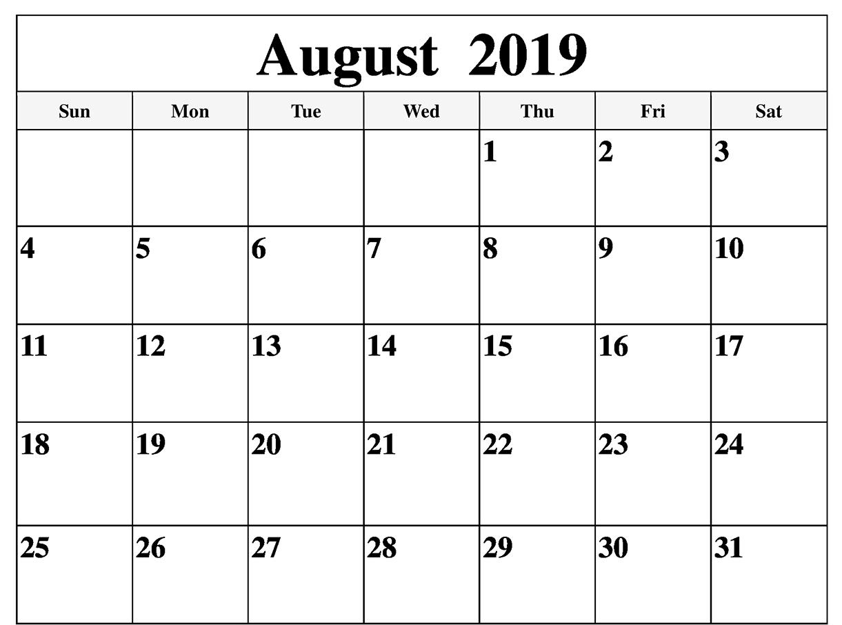 Printable August 2019 Blank Calendar - Printable Calendar & Template with Blank Calender August Printable