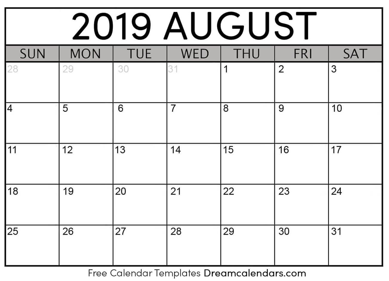 Printable August 2019 Calendar regarding August Calendar Template Printable