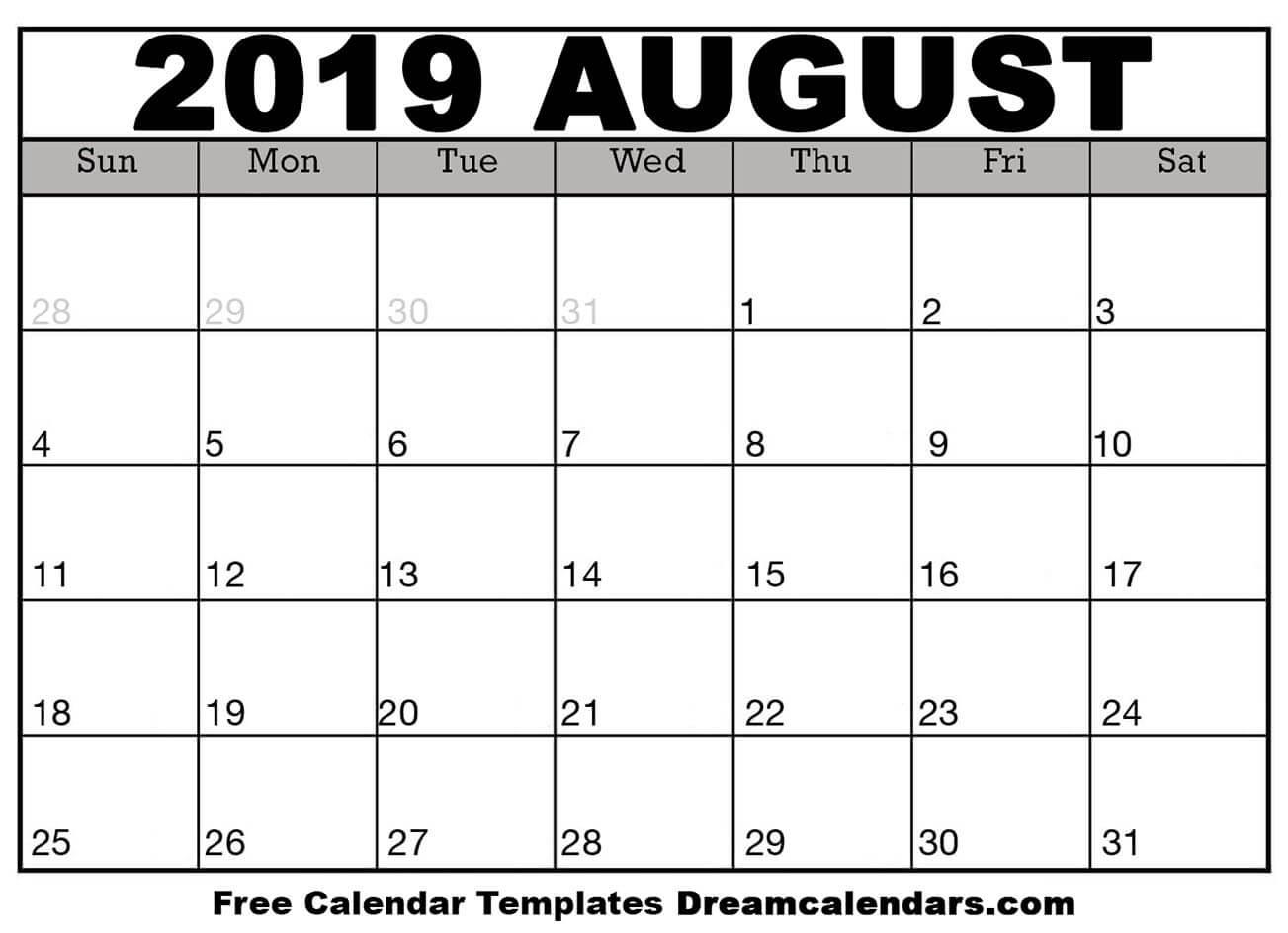 Printable August 2019 Calendar with Calendar Template For August