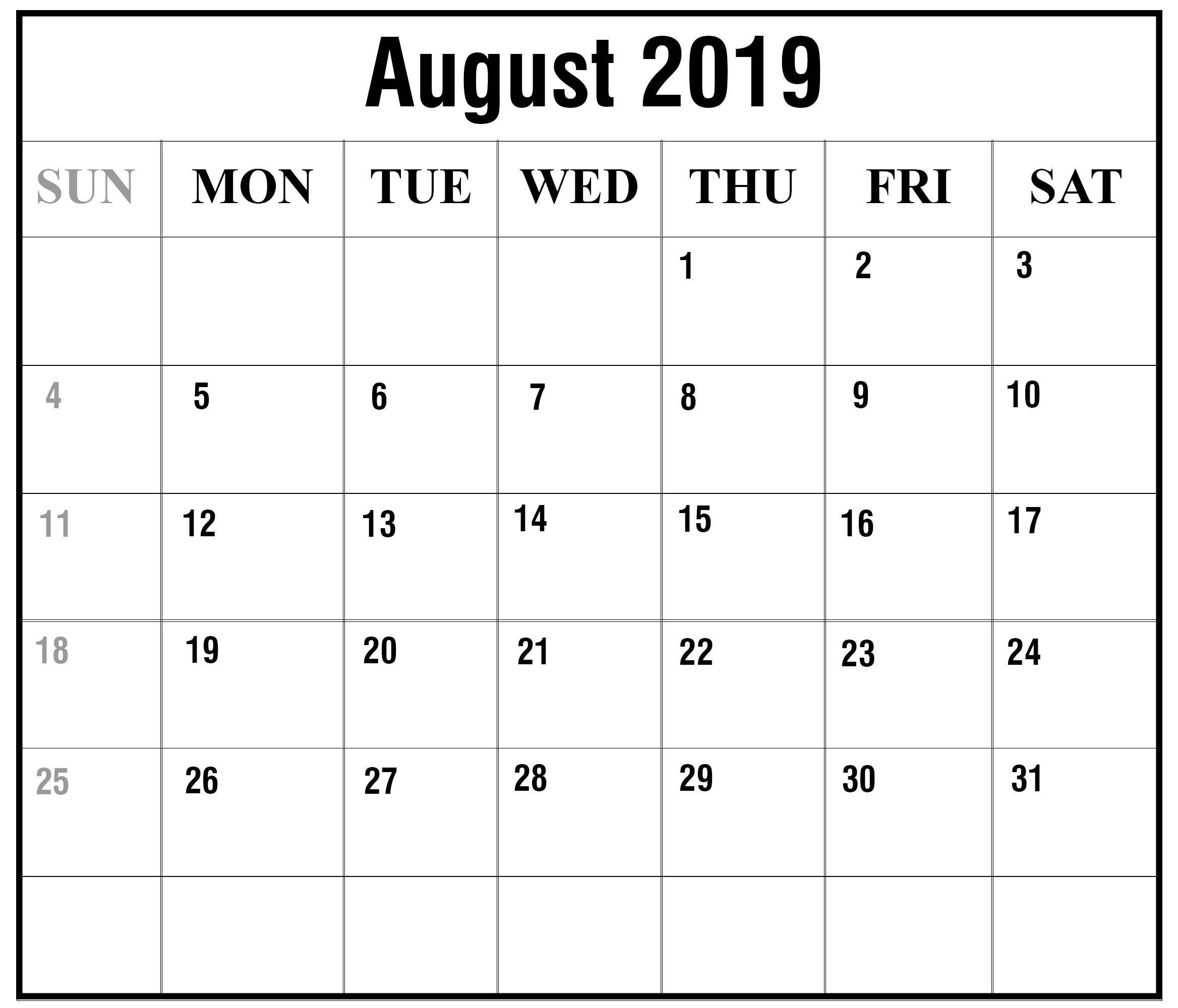Printable August 2019 Calendar With Holidays [Pdf, Excel, Word for Calendar Blanks August Through October 2019