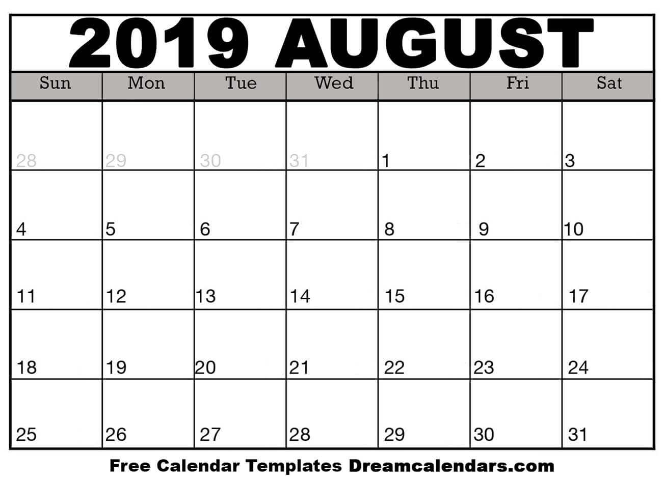 Printable August 2019 Calendar with Null Blank Calendar To Print