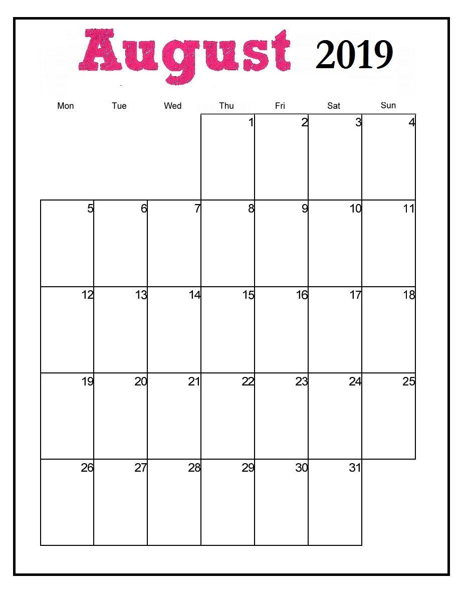 Printable August 2019 Vertical Calendar | 2019 Monthly Calendar for August Blank Calendar Pages