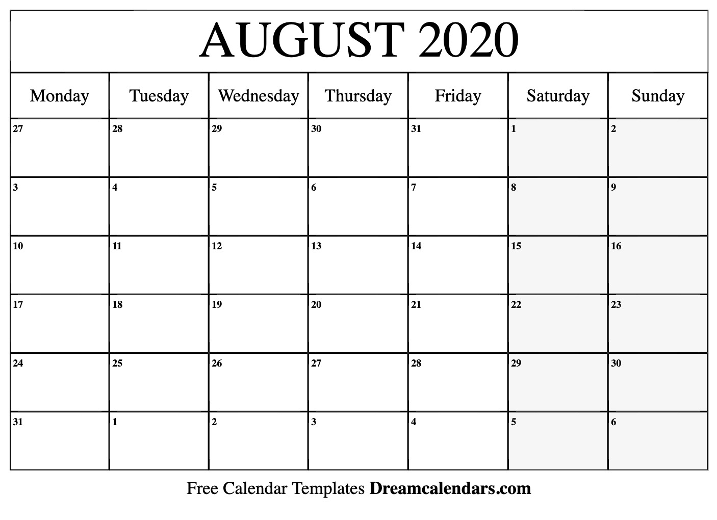 Printable August 2020 Calendar regarding 2020Printable Monday Through Sunday Calendars