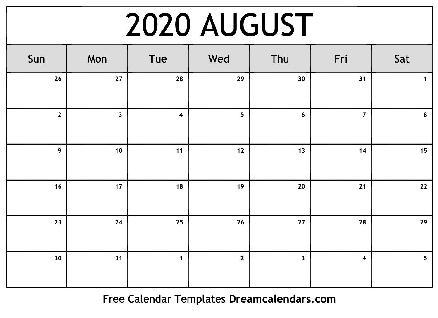 Printable August 2020 Calendar throughout June July August 2020 Calendar
