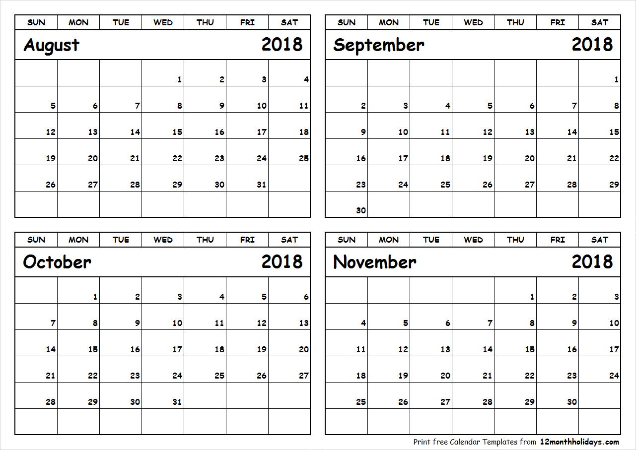 Printable-August-To-November-2018-Calendar - All 12 Month Calendar inside Monthly Calendar Template Novb