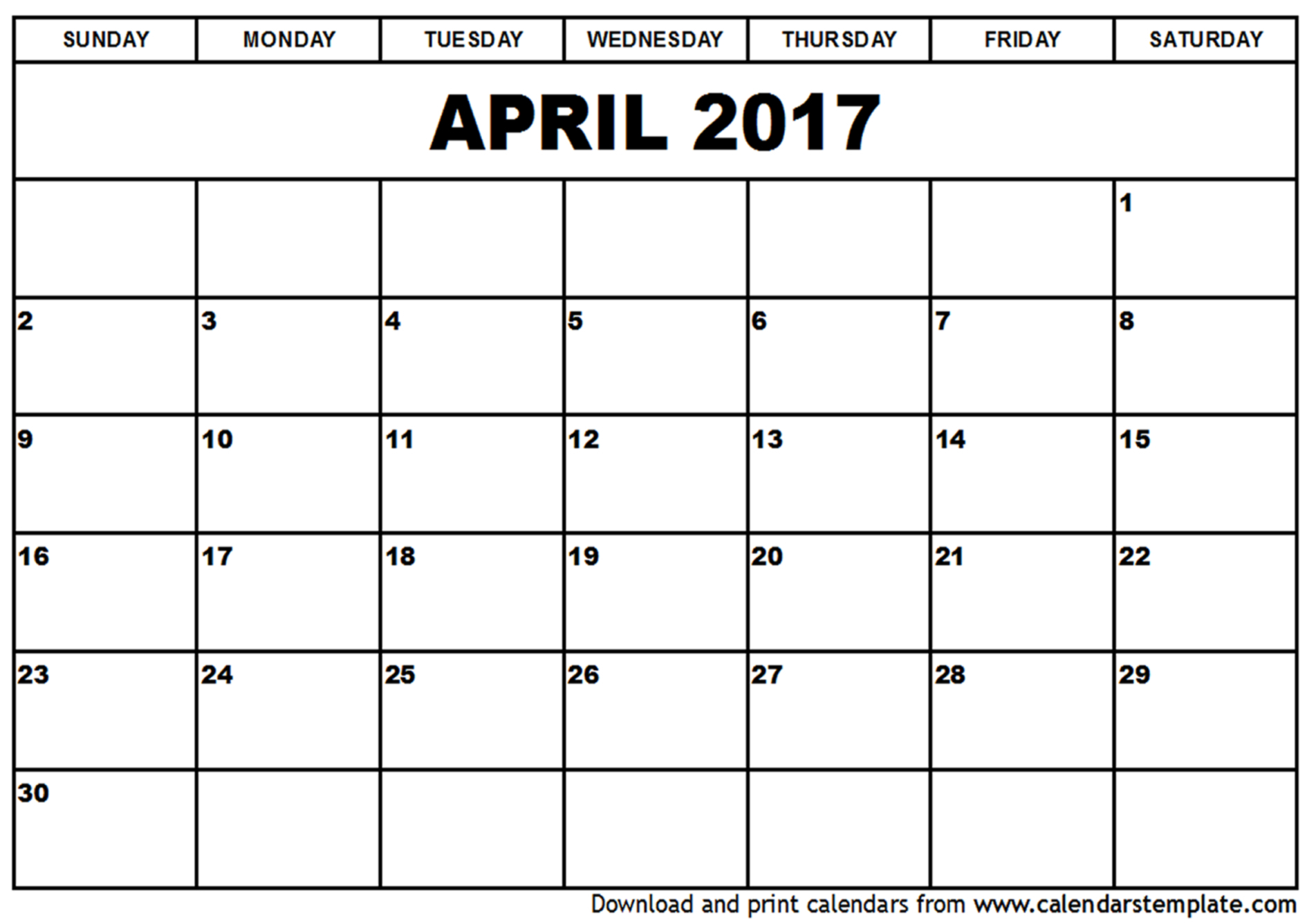 Printable-Blank-2017-April-Calendar-Template-Docs inside April Calendar Template