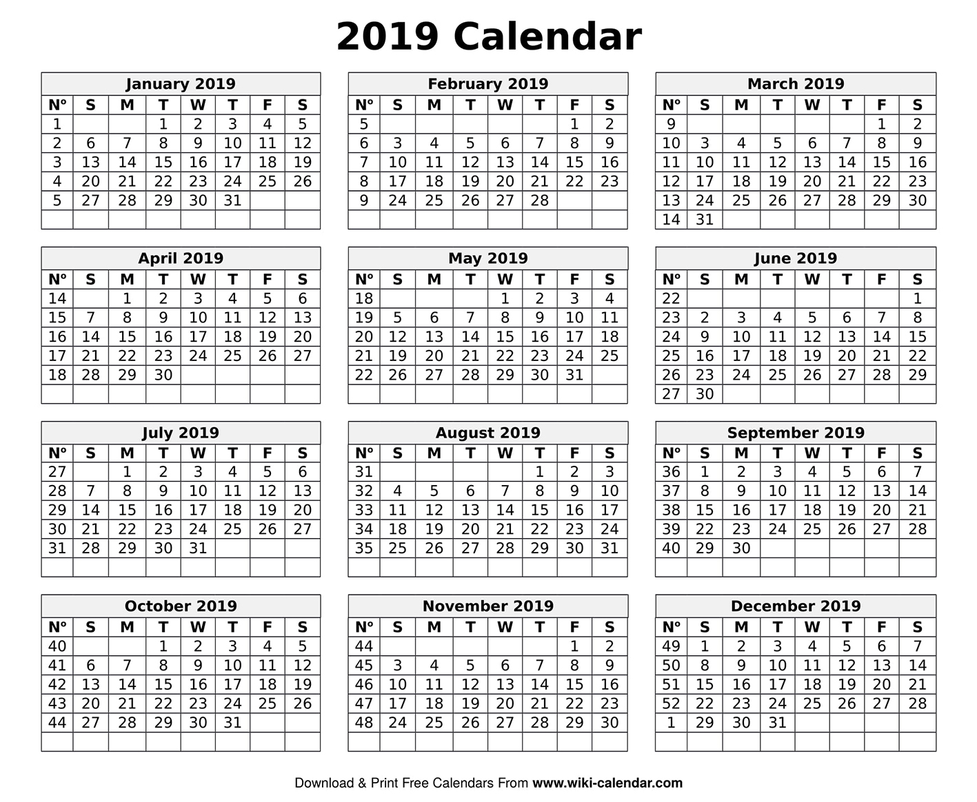 Printable Blank 2019 Calendar Templates in Free Printable Blank Calendar August-December