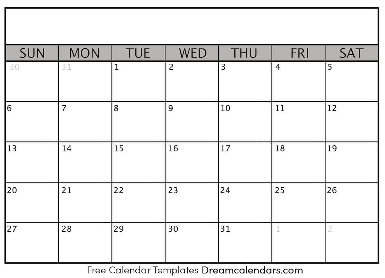 Printable Blank Calendar - Dream Calendars regarding Blank Calendar Of Events Template