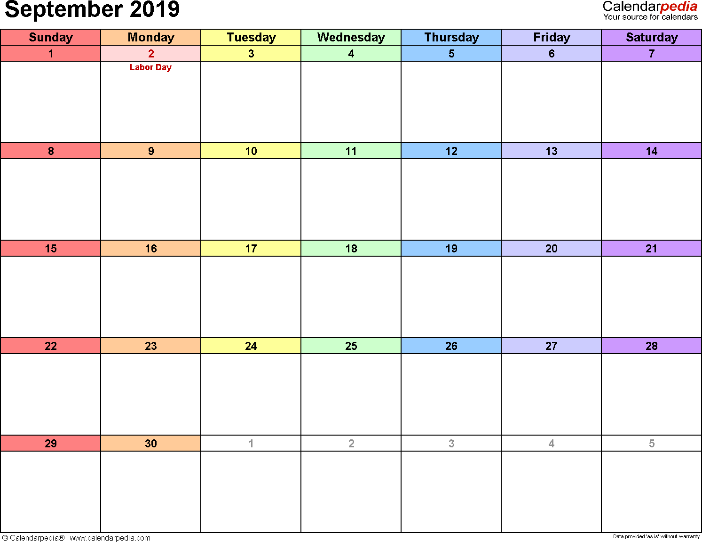 Printable Blank Calendar September 2019 | Printable Calendar 2019 within Blank Monthly Calendar September