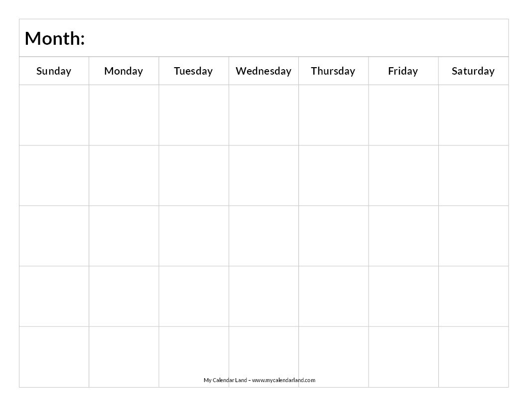 Printable Blank Calendar | Study Schedule | Blank Calendar in Printable Blank Schedules Monthly