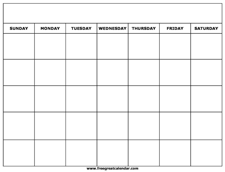 Printable Blank Calendar Templates inside Printable Blank Calendar Template