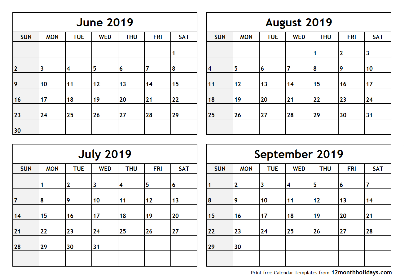Printable Blank Four Month June July August September 2019 Calendar throughout Blank June July August Calendar