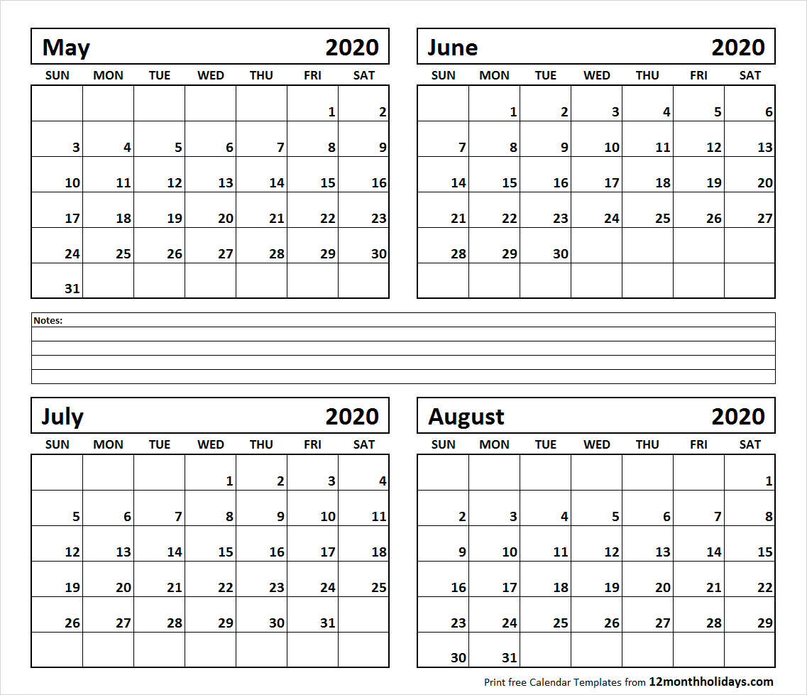 Printable Blank Four Month May June July August 2020 Calendar Template with June July August 2020 Calendar
