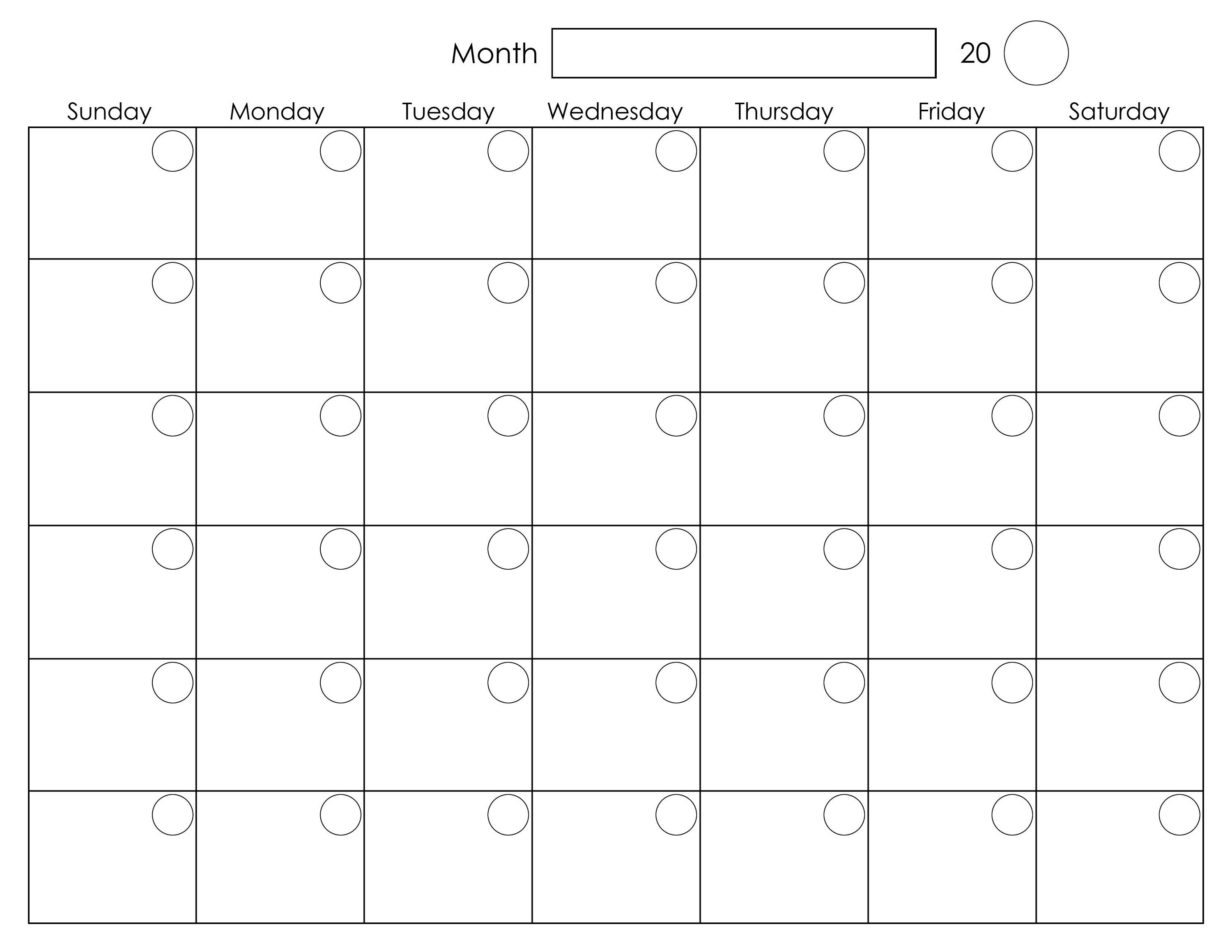 Printable Blank Monthly Calendar | Calendar Template Printable in Blank One Month Calendar Template