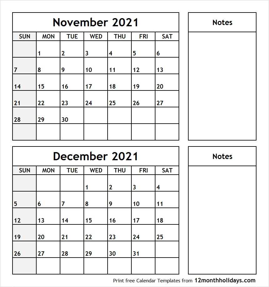 Printable Blank Two Month Calendar November December 2021 Template with Blank Calendar For November And December