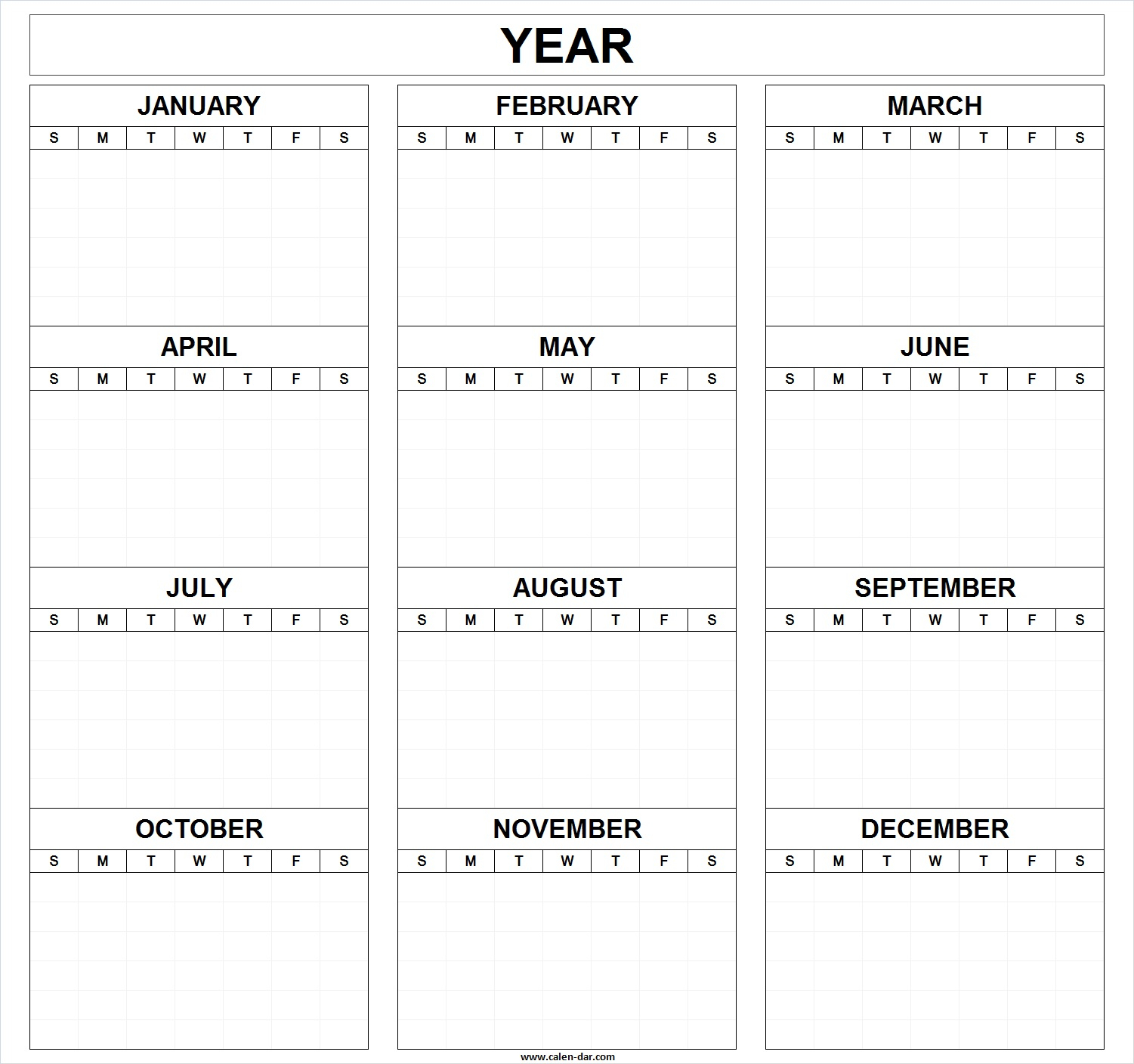 Printable Blank Year Calendar Templatemonth | Editable Calendar for Blank Printable Calendars Yearly