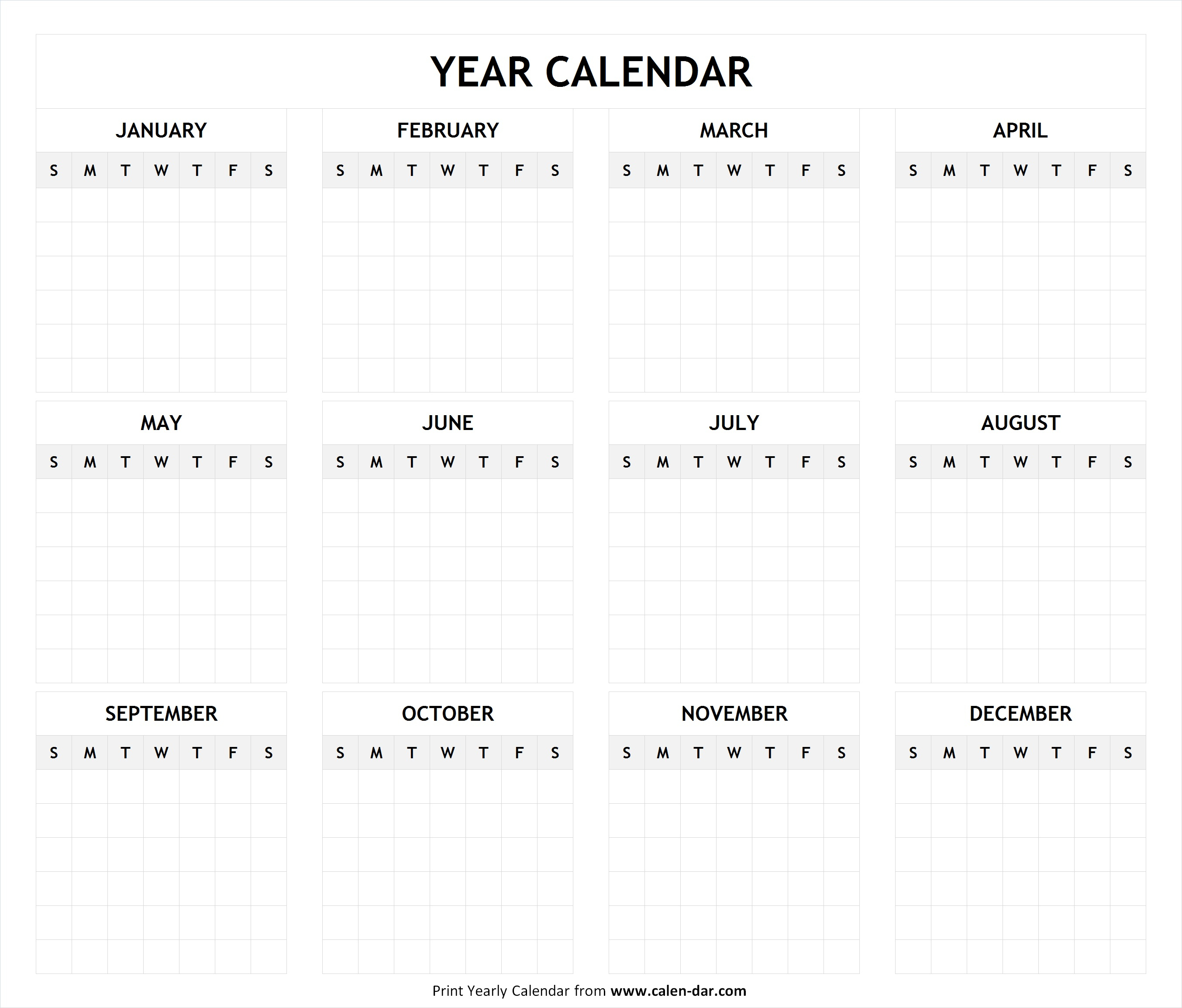 Printable Blank Year Calendar Templatemonth | Editable Calendar pertaining to Blank Printable Calendars Yearly