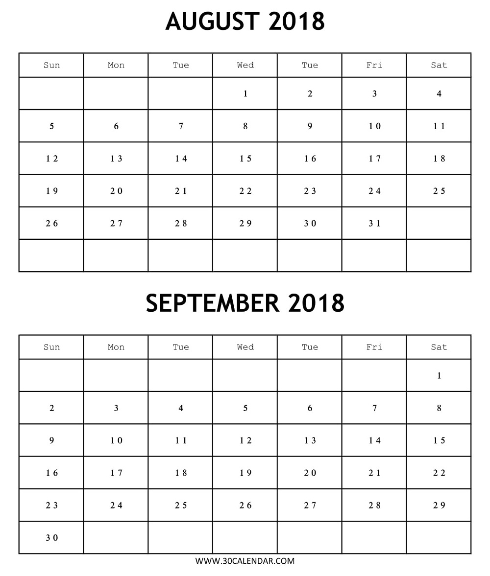 Printable Calendar 2018 August September Free | 2 Months Template with regard to Blank August And September Calendar