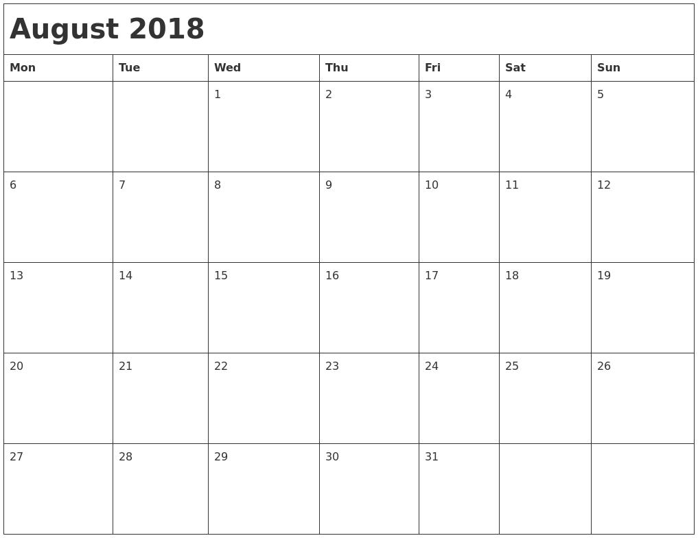 Printable Calendar 2018 August Through December | Printable Calendar for August - December Blank Calendar