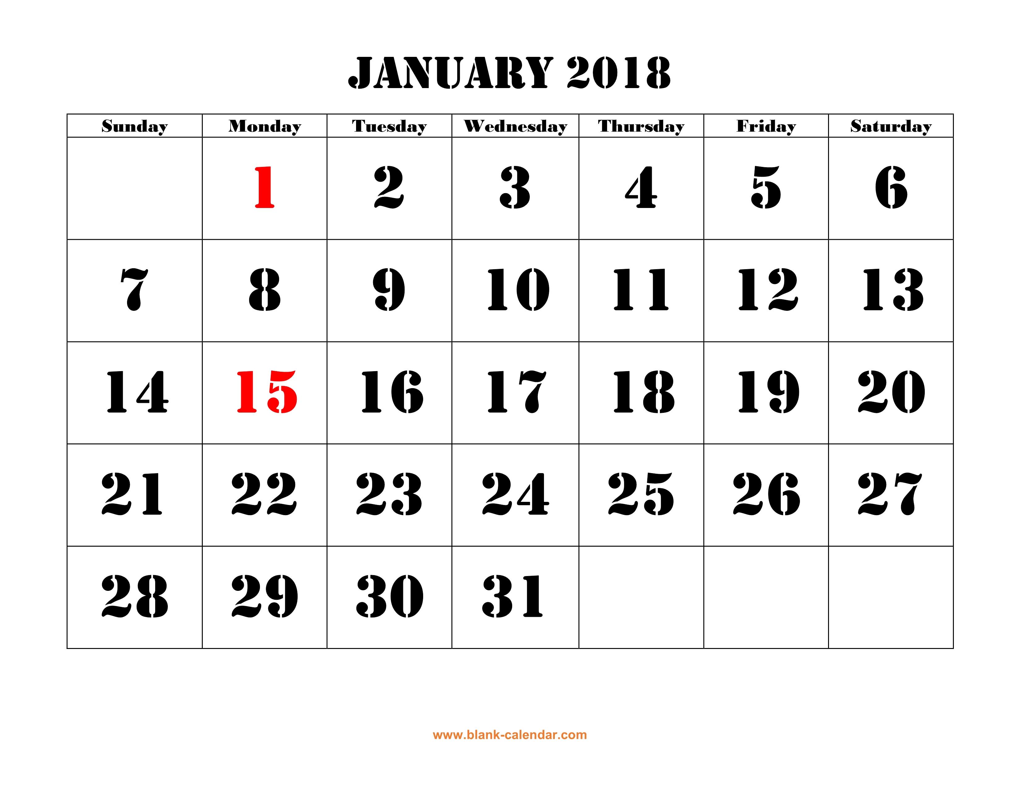 Printable Calendar 2018 | Free Download Yearly Calendar Templates pertaining to Blank Writable Calendar Template Large December Calendar Com