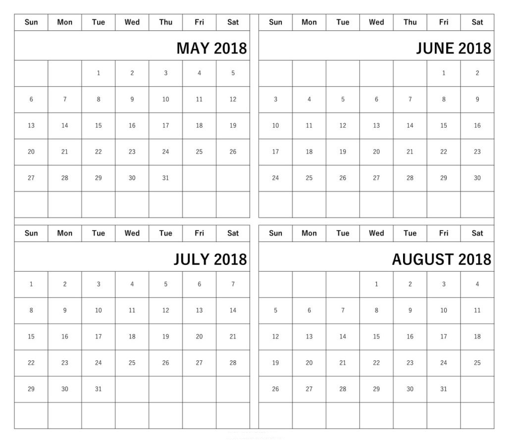 Printable Calendar 2018 May June July August | Printable Calendar 2019 pertaining to Blank June July August Calendar