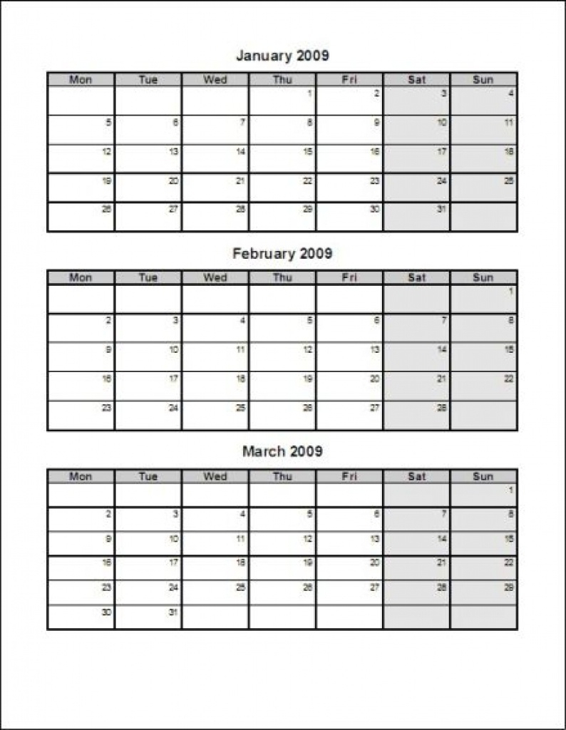 Printable Calendar 2018 Three Months Per Page | Printable Calendar 2019 within 3 Month Printable Calendar Template